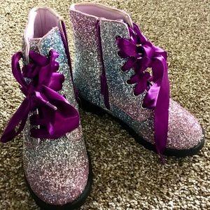 Combat boots glitter sz 12 NWOT